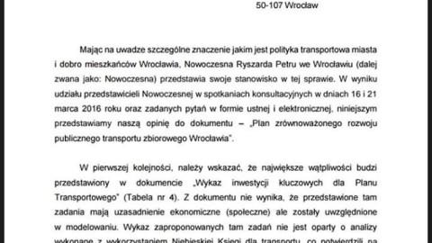 Składamy list w sprawie Planu Transportowego