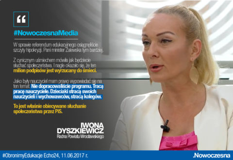 Dyszkiewicz: milion podpisów za referendum edukacyjnym jest wyrzucany do śmieci