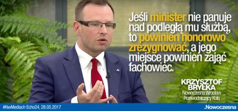 Bryłka: Jeśli Minister nie panuje nad służbą, to powinien honorowo zrezygnować
